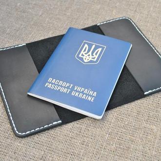 Черная обложка для паспорта из натуральной кожи P01-0+white