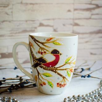 """Керамическая чашка для чая """"Снегири"""""""