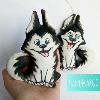 Сувенир Handmade кофейная игрушка собака, собачка, песик Хаски