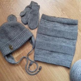 """Дитячий набір """"Мишка"""" (шапка+снуд+рукавички)"""