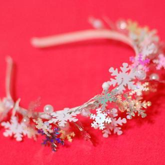 Пышный обруч ободок под костюм снежинки на новогодний утренник
