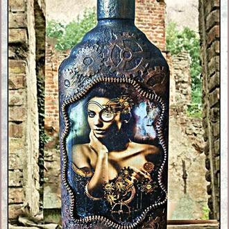 "Подарочная бутылка ""Steampunk - Lady"", подарки в стиле стимпанк"