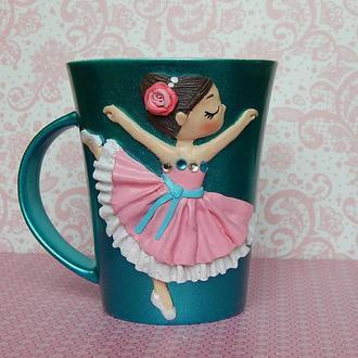 Чашка с декором полимерной глиной  Балерина