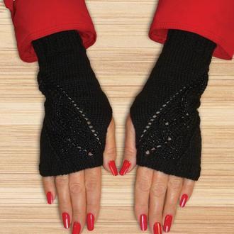 Митенки перчатки без пальцев - шикарный черный