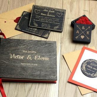 Индивидуальный свадебный набор из дерева: гостевая книга, пригласительные, коробочка для колец и тд