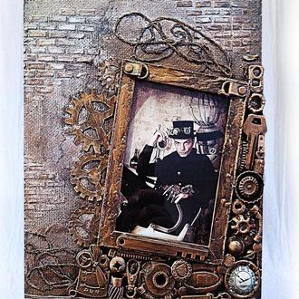 Фоторамка в стиле steampunk фоторамка ручной работы рамка для фото 10*15 фотоколлаж