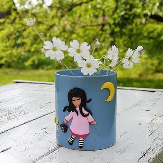 Чашка  с декором из полимерной глины, отличный подарок на день рождения или по любому случаю