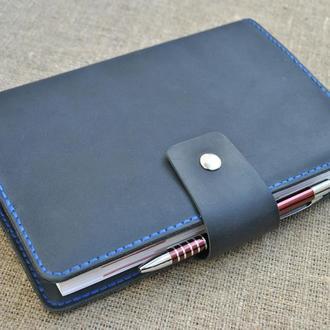 Темно-синяя обложка для блокнота из натуральной кожи А5 формат B07-600+blue