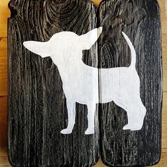 """Ключница-картина в стиле кантри/рустик """"""""Chihuahua Bigear"""""""