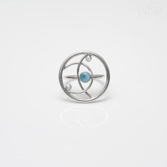 "Серебряное кольцо с ларимаром. Коллекция ""Орбиты"""