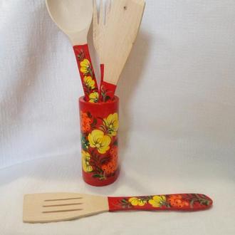 Деревянный подарочный набор для кухни петриковская роспись красный из 5 предметов