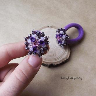 Фиолетовые цветочные резинки, пара резиночек, резинки с цветами, подарок для девочек