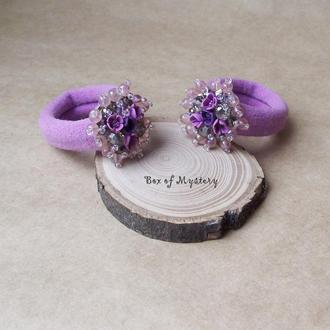 Сиреневые цветочные резинки, резинки для волос, резинки с цветами, подарок девочке