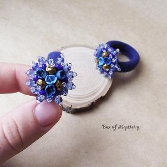 Синие резиночки для волос, резинки с цветами, пара резинок, подарок для девочки