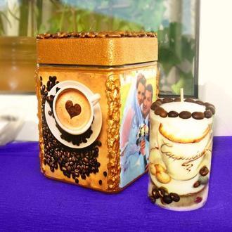 """Набор """"Банка для хранения кофе с фотографией и кофейная свеча"""""""