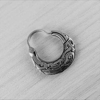Чоловіча сережка ′Ворон′ (двостороння)