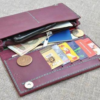 Яркий вместительный кошелек из натуральной кожи K41-800+green