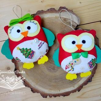 Новогодние совы из фетра / подвески совушки - рождественский декор.