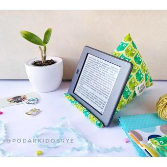 Подставка из ткани для телефона и планшета - Совы зеленые