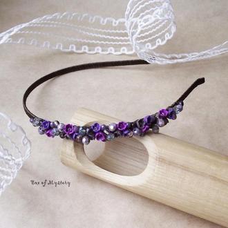 Сиреневый обруч для волос, обруч с цветами, аксессуар для волос, подарок для девушки