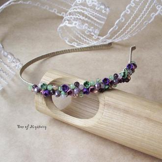 Цветочный обруч, обруч с цветами, светло фиолетовый обруч, аксессуар для волос, цветы ручной работы