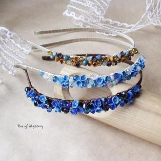 Цветочный обруч, обруч с цветами, синий обруч, цветы ручной работы, подарок девушке
