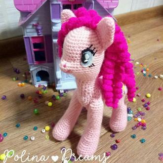 Игрушка вязаная пони.Пони Пинки пай вязаная.