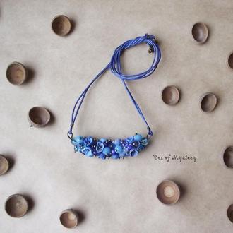 Голубая цветочная подвеска, цветочное украшение, цветы ручной работы, украшение на шею