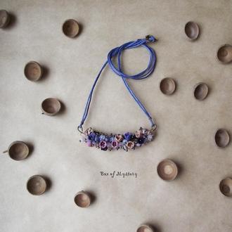 Цветочное украшение, подвеска с цветами, цветы ручной работы, украшение на шею, подарок девушке