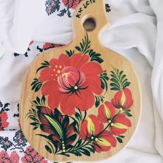 Деревянная разделочная доска из бука яблочко Мак Петриковская роспись