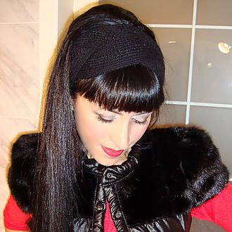 Поделиться:  Вязаная повязка на голову - contemporary black
