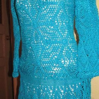 """Платье """"Голубой зефир"""", вязанное крючком"""