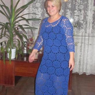Хлопковое платье из цветочных мотивов, вязаное крючком