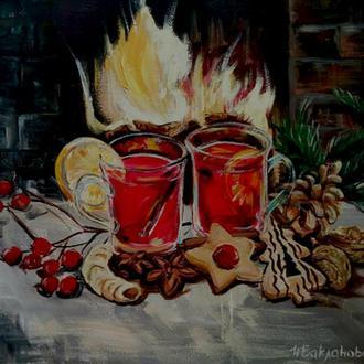 Новогоднее настроение 50/60 см Оригинальный натюрморт с глинтвейном,сладостями, камином Акрил Холст
