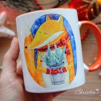 "Чашка с принтом ""Лисичка (казкових новорічних свят)"""