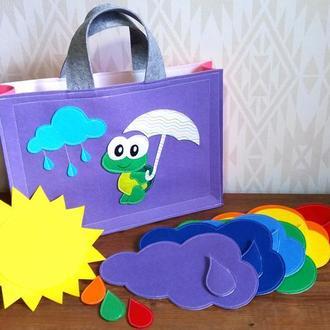 Комплект погода - сонце та різнокольорові хмари з краплями на магнітах