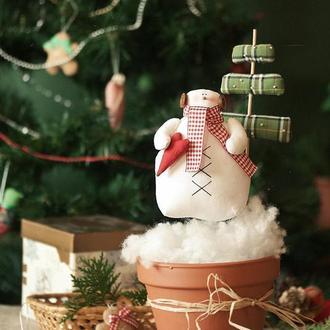 Новогодний декор – вазон со снеговиком