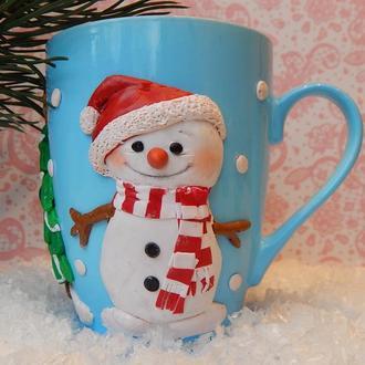 Авторская чашка декорированная полимерной глиной Снеговик