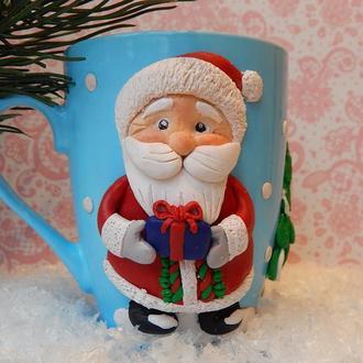 Чашка Дед Мороз,Кружка с Дедом Морозом,Кружка с полимерной глиной ,Подарок на Новый год.Санта Клаус.