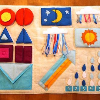 Сенсорна розвиваюча ковдра для малят від 1 року - форми,кольори,лічба,пазли