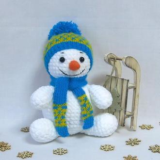 Снеговичок из плюшевой пряжи
