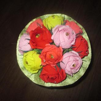 Ручной букет из конфет 11 роз