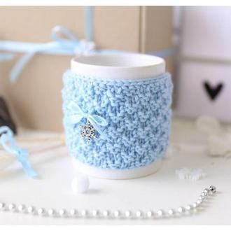 Грелка на чашку голубая, чехол на чашку