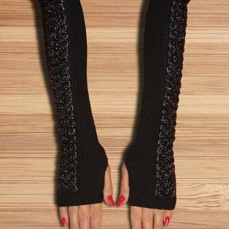 Митенки - перчатки без пальцев silver night