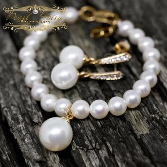 Комплект з перлів браслет та сережки