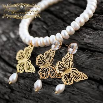 """Комплект украшений из натурального жемчуга и цирконов браслет, серьги """"Бабочки"""""""
