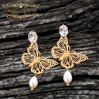 """Сережки з кристалами, натуральними перлами """"Метелики"""""""