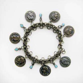 Бронзовый браслет цепочка в стиле бохо с подвесками монетами