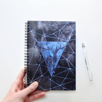 """Скетчбук черные страницы  и белая ручка. Авторский рисунок """"Геометрический олень"""""""