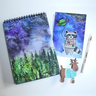 Подарочный набор: блокнот А6, открытка, значок и белая ручка